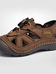 Коричневый / Хаки-Мужская обувь-На каждый день-Кожа-Сандалии