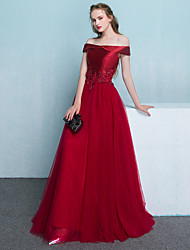 Formal Evening Dress A-line Off-the-shoulder Floor-length Tulle with Appliques / Beading