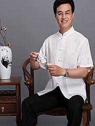Men's Solid Casual / Sport Shirt,Linen Short Sleeve White / Yellow / Gray