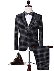 Suits Standard Fit Notch Single Breasted One-button Cotton Checkered / Gingham 3 Pieces Black Straight Flapped None