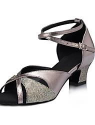 Women's Dance Shoes Latin / Jazz / Salsa Sparkling Heels Heel Practice / Professional Gray Customizable
