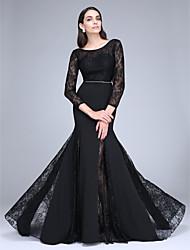 2017 ts couture® formal, vestido de noite trompete / sereia varrer colher / escova de trem do laço / poliéster com rendas