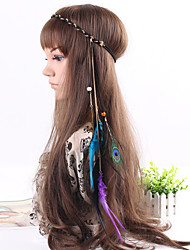Women's Fashion Weave Chain Alloy Leaves Feather Pendant Headbands 1 Piece