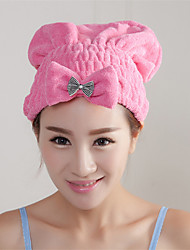 Thick Microfiber Dry Hair Cap Super Absorbent Towel Dry Solid Color Bow Hair Wraps