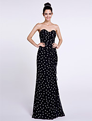 Lanting Bride® Floor-length Chiffon Bridesmaid Dress Sheath / Column Sweetheart with Pattern / Print