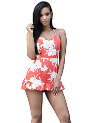 Women's Sexy Halter Ruffle Side Print Wide Legs Dress Backless Jumpsuits