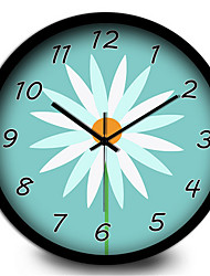 Garden Fresh Flower Metal Living Room Bedroom Silent Quartz Wall Clock
