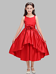 A-line Tea-length Flower Girl Dress-Cotton / Satin Sleeveless