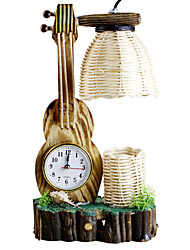 The Violin With Clock Pen Container Craft Lamp