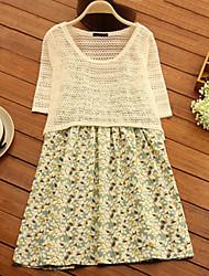 Vestido de maternidad Sobre la rodilla Ahuecado-Algodón-Escote Redondo Manga Corta
