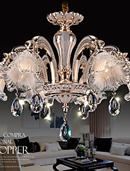 6 Lights Modern Simple European Style Chandeliers Flowers Crystal  LED Pendant Lights