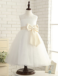 A-line Ankle-length Flower Girl Dress - Tulle Sleeveless Jewel with Bow(s)