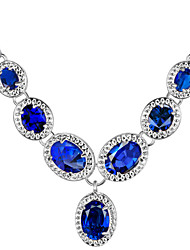 Women's Pendant Necklaces Crystal Zircon Cubic Zirconia Fashion Dark Blue Red Green Light Blue Rainbow Jewelry Wedding 1 pair