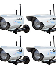 KingNEO306SA Outdoor Solar Power Dummy Wifi Security Camera Simulated Camera with Antenna Flash LED 4pc Silver