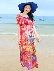 Women's Beach Boho Plus Size / Swing Dress,Print Round Neck Maxi Short Sleeve Blue / Red Rayon Summer