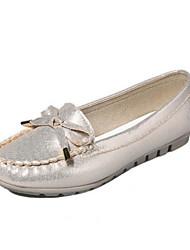 женская обувь из кожзаменителя плоский комфорт каблук квартиры открытый / вскользь черный / серебро / золото