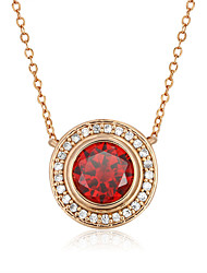 2016 Vintage 18k God Plated Alloy Ruby Round Shape Zircon Party Necklaces & Pendants For Women