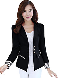 Women's Striped Color Block Slim All Match Large Size Blazer,Sophisticated Shirt Collar Long Sleeve