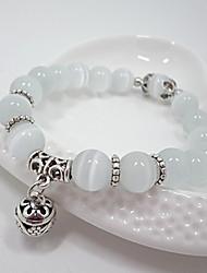 Feminino Pulseiras Strand Cristal Opala Moda Forma Redonda Branco Jóias 1peça