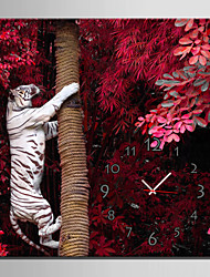 E-HOME® White Tiger On The Tree Clock in Canvas 1pcs