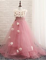 A-line Floor-length Flower Girl Dress - Tulle Sleeveless Jewel with Flower(s)