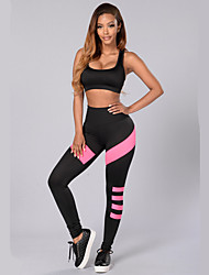 Women's Sexy / Active Hoodies Color Block Black Polyester / Spandex Tight Sports Yoga Clothing Sets