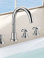 Retro / Modern Tub And Shower Waterfall / Rain Shower / Widespread / Handshower Included / Pullout Spray with