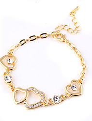 Classic Luxury Mutual Affinity Hollow Heart-shaped Transparent Crystal Decoration Bracelet