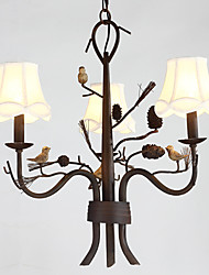 North Amercian Countryside Retro Resin Bird with Pine Cones Chandelier Lamp for Indoor Decorate Chandelier Light