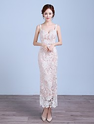 Formal Evening Dress Sheath / Column Spaghetti Straps Tea-length Lace with Lace