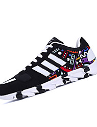 Men's Shoes PU / Fabric / Casual Sneakers Athletic / Casual Sneaker Flat Heel Others / Split Joint / Lace-upBlack /