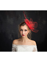 Women's Lace / Feather / Flax / Net Headpiece-Special Occasion Fascinators 1 Piece