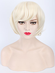 Capless Blonde Color Natural Curly  High Quality Synthetic Wig