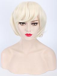 lixívia fofo peruca loira atalho natural para senhoras europeus e americanos uso diário barato resistentes beleza peruca de calor