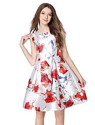 Women's Work Street chic A Line / Sheath Dress,Geometric Round Neck Knee-length Sleeveless White Polyester All Seasons