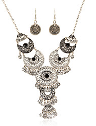 European And American Retro Alloy Coin Tassel Earrings Necklace Set
