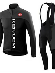KEIYUEM® Cycling Jersey with Bib Tights Unisex Long Sleeve BikeBreathable / Thermal / Warm / Quick Dry / Dust Proof / Wearable / 3D Pad /