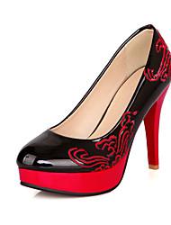 Women's Heels Spring Summer Fall Platform PU Wedding Dress Party & Evening Stiletto Heel Platform Flower Black Blue Red Beige Walking