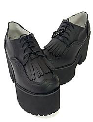 Панк Кожа 11 Высокий каблук Черный Лолита