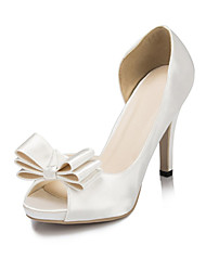 Women's Spring / Summer / Fall / Winter Heels / Peep Toe / Platform Satin Wedding / Dress / Party & Evening Stiletto Heel BowknotIvory /