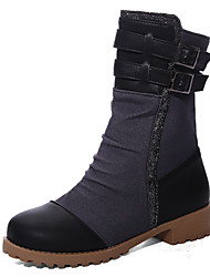 Women's Shoes Winter Motorcycle Boots / Round Toe Boots Dress / Casual Low Heel Zipper Black / White