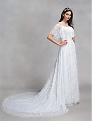 LAN TING BRIDE A-line Wedding Dress Floral Lace Court Train Bateau Lace with Lace