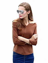 Women's Casual/Daily Street chic Fall T-shirt,Solid Halter Long Sleeve Brown Cotton Thin