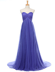 A-Line Sweetheart Floor Length Tulle Formal Evening Dress with Draping