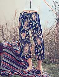 Aporia.As Women's Floral Black Wide Leg Pants,Boho