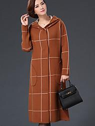 Damen Druck Einfach Lässig/Alltäglich Mantel,Winter V-Ausschnitt Langarm Blau / Rot / Grau / Grün / Gelb Dick Polyester