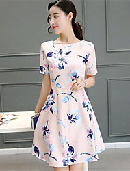 Women's Going out Street chic A Line / Sheath Dress,Floral Round Neck Above Knee Short Sleeve