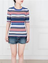 Damen Geometrisch Retro Arbeit T-shirt,Rundhalsausschnitt Sommer Kurzarm Blau Baumwolle Mittel