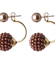 Multicolor Luxury Full Diamond Pearl Sides Wear Grape Pearl Ball Earrings