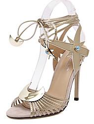 Damen-High Heels-Lässig-PU-StöckelabsatzSilber Gold